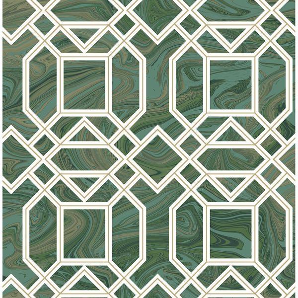 Picture of Daphne Green Trellis Wallpaper