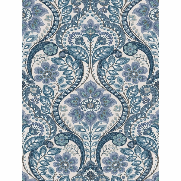 Picture of Night Bloom Blue Damask Wallpaper