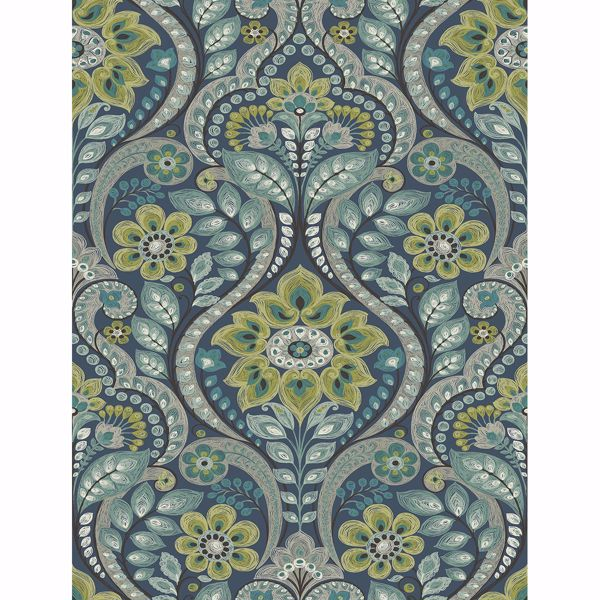 Picture of Night Bloom Navy Damask Wallpaper