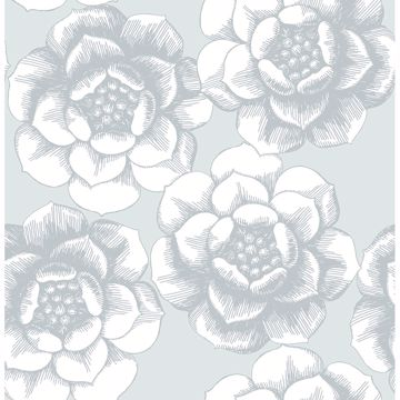 Picture of Fanciful Silver Floral Wallpaper