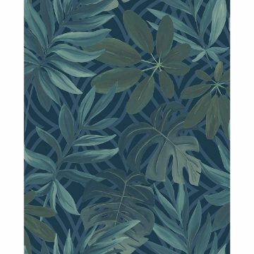 Picture of Nocturnum Blue Leaf Wallpaper