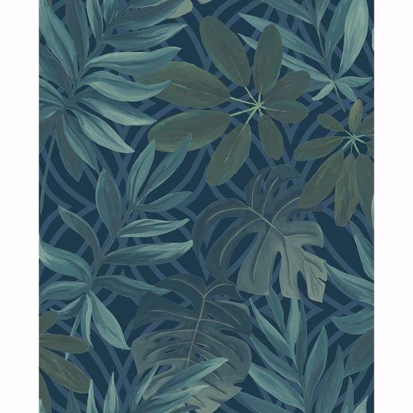 Picture of Nocturnum Blue Leaf Wallpaper