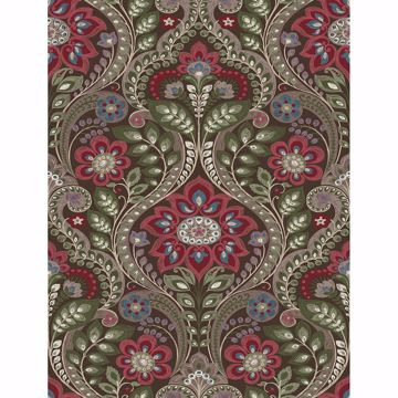 Picture of Night Bloom Chocolate Damask Wallpaper