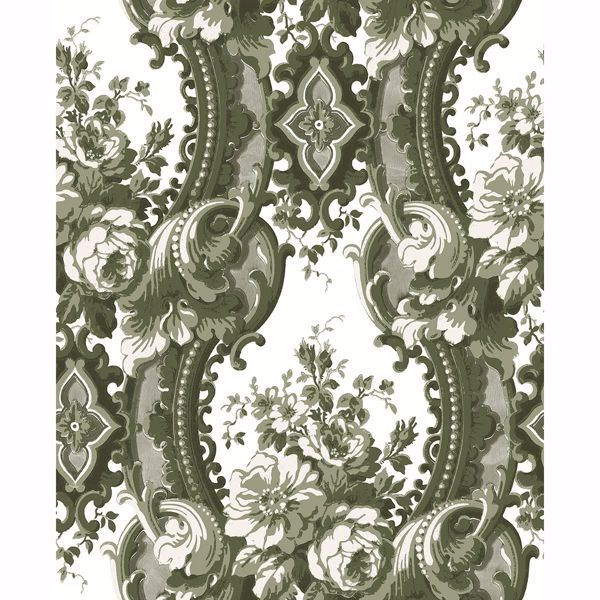 Picture of Dreamer Green Damask Wallpaper