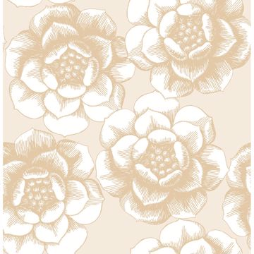 Picture of Fanciful Gold Floral Wallpaper