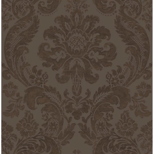 Picture of Shadow Brown Damask Wallpaper