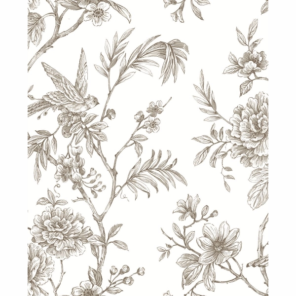 Picture of Jessamine Taupe Floral Trail Wallpaper