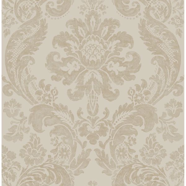 Picture of Shadow Khaki Damask Wallpaper