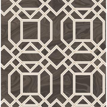 Picture of Daphne Brown Trellis Wallpaper
