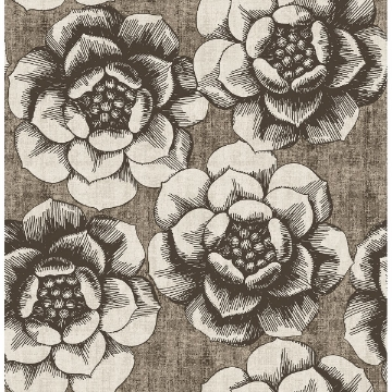 Picture of Fanciful Brown Floral Wallpaper