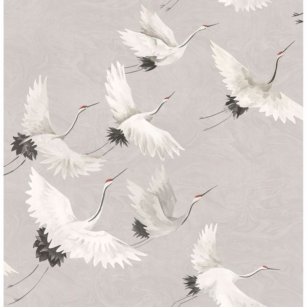 Picture of Windsong Grey Crane Wallpaper