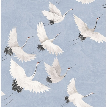 Picture of Windsong Periwinkle Crane Wallpaper