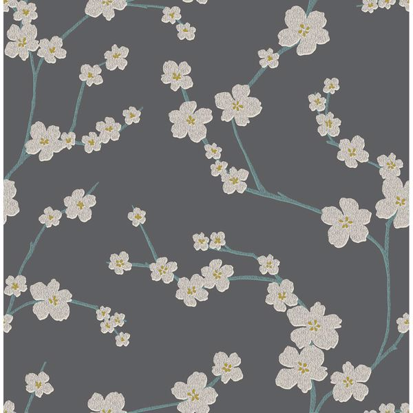 Picture of Sakura Dark Grey Floral Wallpaper