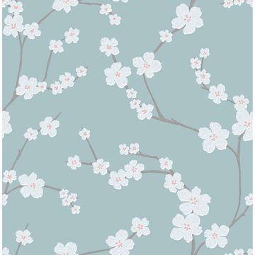Picture of Sakura Turquoise Floral Wallpaper