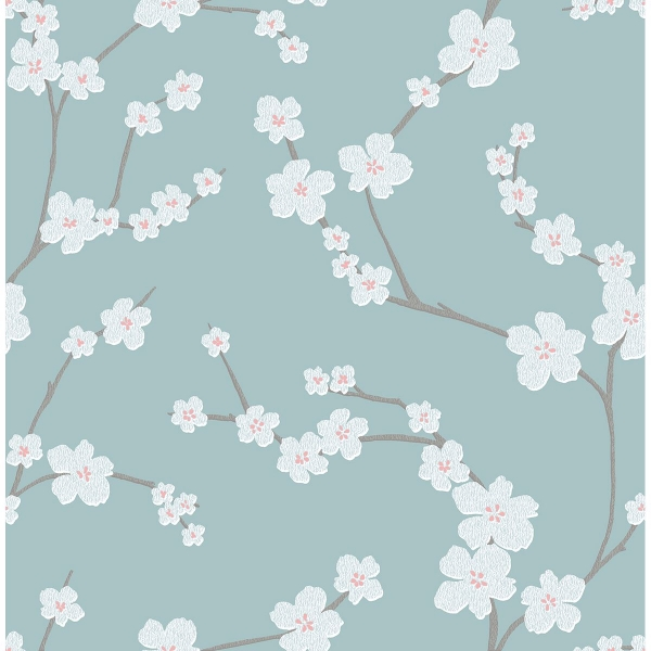 Picture of Sakura Turquoise Floral Wallpaper