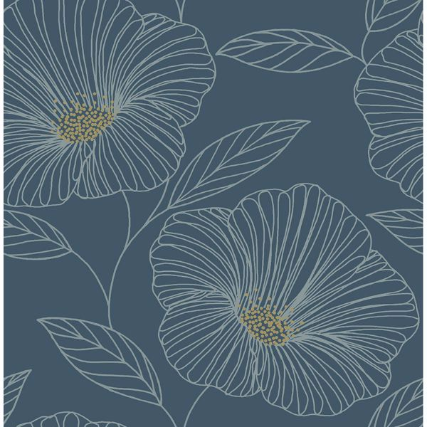 Picture of Mythic Blue Floral Wallpaper