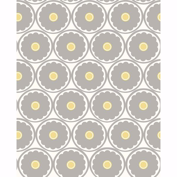 Picture of Buttercup Grey Flower Wallpaper