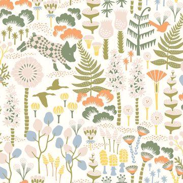 Picture of Hoppet Folk White Scandinavian Wallpaper