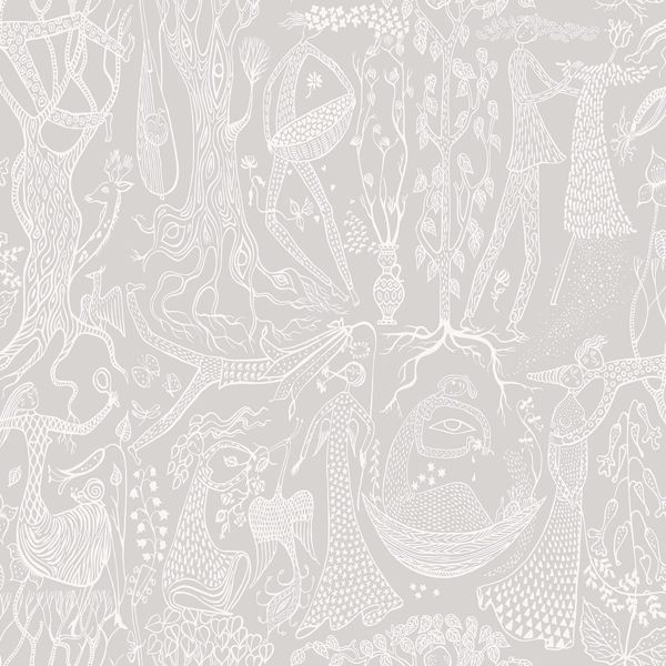 Picture of Poem d´Amour Light Grey Folk Wallpaper