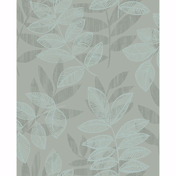 Picture of Chimera Turquoise Flocked Leaf Wallpaper