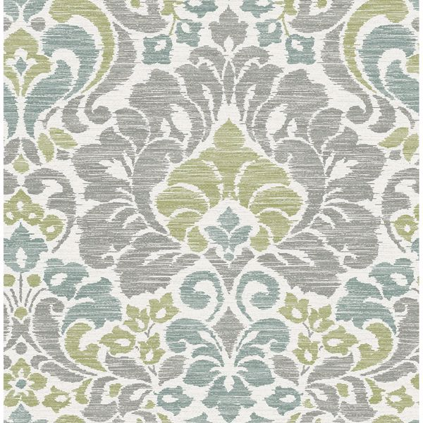 Picture of Garden of Eden Green Damask Wallpaper