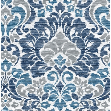 Picture of Garden of Eden Blue Damask Wallpaper