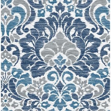 Picture of Garden of Eden Blue Damask Wallpaper