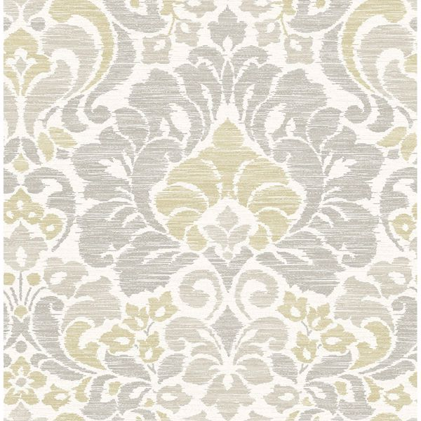 Picture of Garden of Eden Yellow Damask Wallpaper