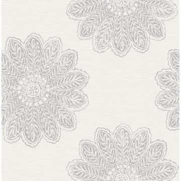 Picture of Sol Light Grey Medallion Wallpaper