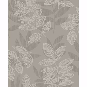 Picture of Chimera Platinum Flocked Leaf Wallpaper