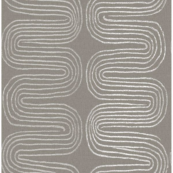 Picture of Zephyr Brown Abstract Stripe Wallpaper