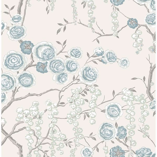 Picture of Peony Tree Aqua Wallpaper by Sarah Richardson