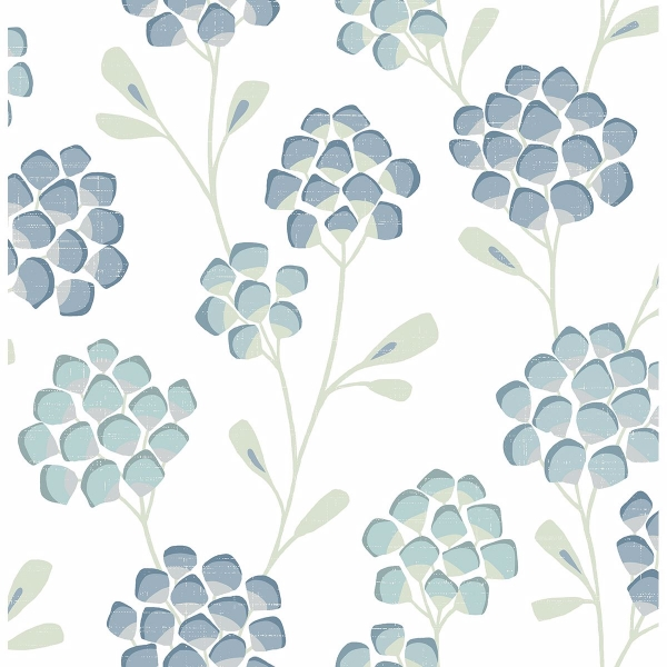 Picture of Scandi Flora Aqua Wallpaper by Sarah Richardson