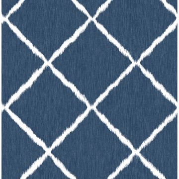 Picture of Indigo Ikat Trellis Wallpaper by Sarah Richardson