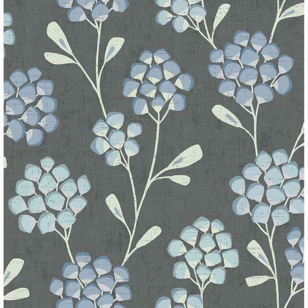 Picture of Scandi Flora Graphite Wallpaper by Sarah Richardson