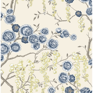Picture of Peony Tree Indigo Wallpaper by Sarah Richardson