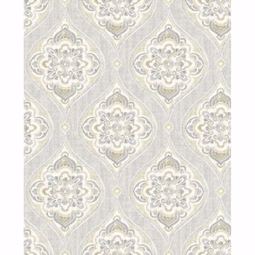 Picture of Adele Light Grey Damask Wallpaper