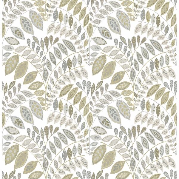 Picture of Fiddlehead Grey Botanical Wallpaper