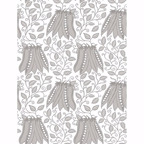 Picture of Peas in a Pod Light Grey Garden Wallpaper