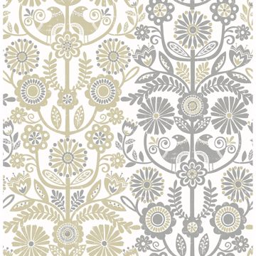 Picture of Lovebirds Grey Folk Stripe Wallpaper