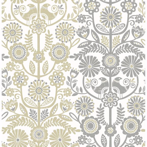 Picture of Lovebirds Grey Folk Stripe Wallpaper