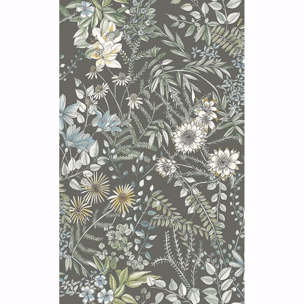 Picture of Full Bloom Taupe Floral Wallpaper