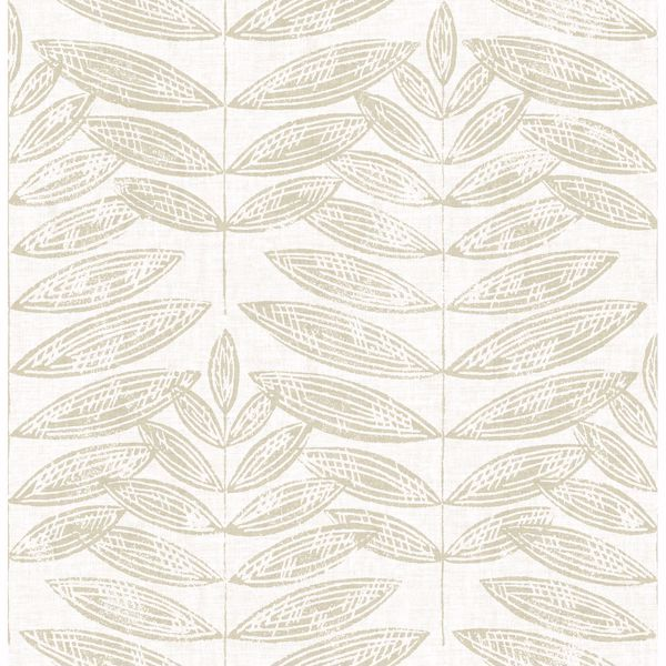 Picture of Akira Beige Leaf Wallpaper