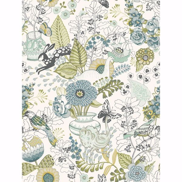 Picture of Whimsy Green Fauna Wallpaper