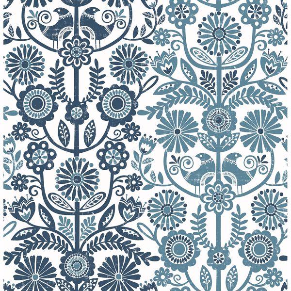 Picture of Lovebirds Navy Folk Stripe Wallpaper