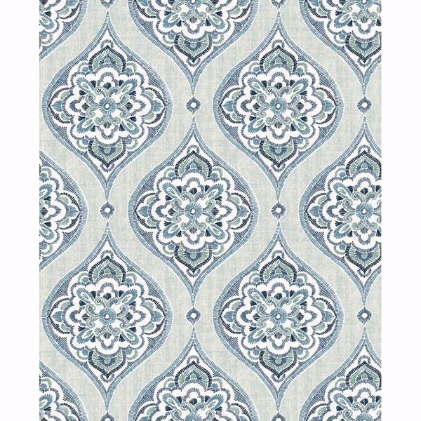 Picture of Adele Aqua Damask Wallpaper