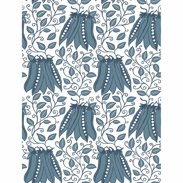 Picture of Peas in a Pod Teal Garden Wallpaper