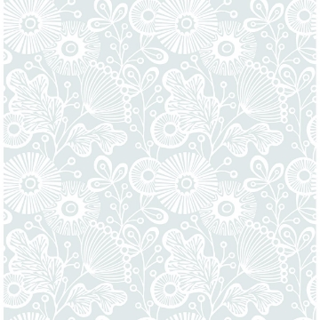 Picture of Ana Light Blue Floral Wallpaper