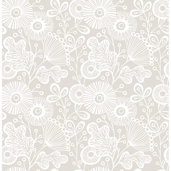 Picture of Ana Taupe Floral Wallpaper