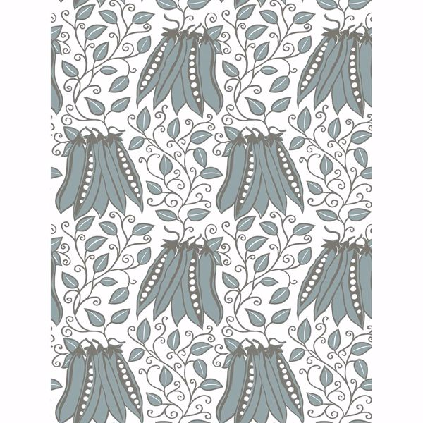 Picture of Peas in a Pod Turquoise Garden Wallpaper